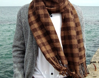 Handwoven merino wool plaid scarf Long woolen hand woven scarf Chocolate brown scarf men  Handmade women winter soft scarf Woven scarf