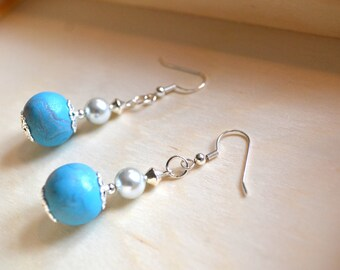 Turquoise Pearl and Polyner Earrings