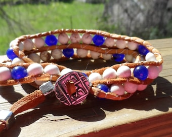 Men's Double Wrap Bracelet in Natural Deerskin with White Howlite and Lapis beads and silver pewter button