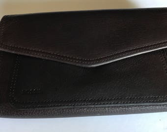 Vintage Fossil Brown Leather Ladies Tri-fold Wallet Checkbook Cover, ID Sleeve