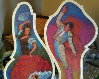 Vintage Colorful Framed Puzzles Spanish Flamenco Dancers Signed H.Greez Wall Art