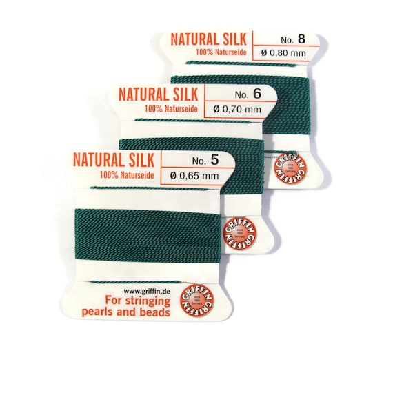Size 5, 6 or 8 : Emerald Green Cord, 100% Silk Cord with Built-In Stainless Steel Needle for Jewelry & Hand Knotting, 2 Yard Spool