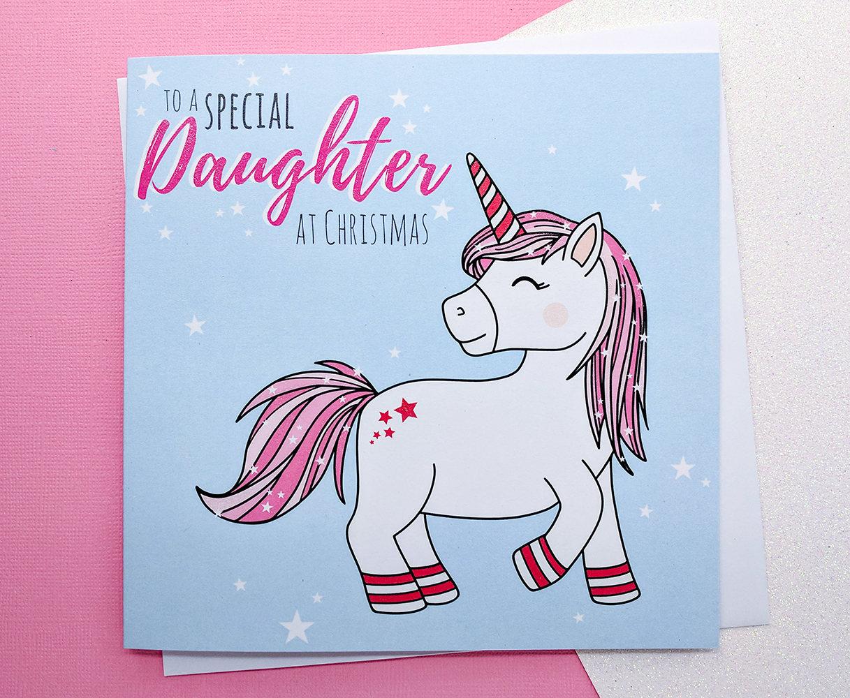 Daughter Christmas Card Glitter Unicorn Christmas Card Hand