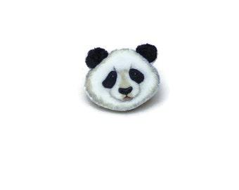Panda Brooch, Panda Bear Face Pin Badge, Wildlife, Zoo Wild Animal, Nature Lovers Gift