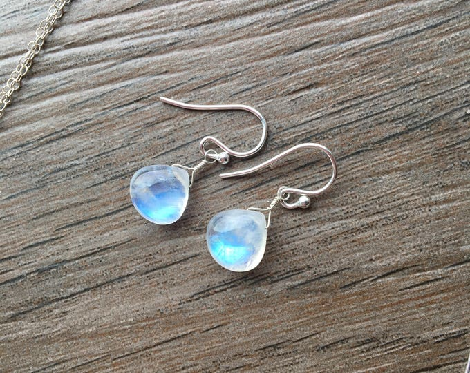 Flashy Smooth Rainbow Moonstone HEart Littles Earrings Bridal Bridesmaid Wedding Gift Minimalist Delicate Dainty Special