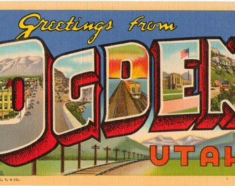Linen Postcard, Greetings from Ogden, Utah, Mount Ogden, Large Letter, ca 1950