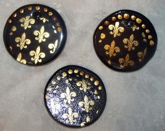 Set of 6 - Fleur De Lis Black & Gold Ornaments