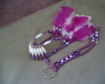 Car accessories for her,Purple car accessories ,New car gift  ,Rear view mirror charm, Stocking stuffer,Braided  Key chain,Boho