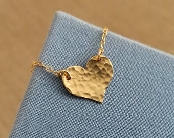 Gold Heart Necklace, Hammered Heart Necklace, Gold Filled Necklace, Gold Heart, Celebrity Style Jewelry