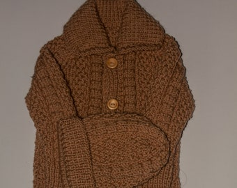Hand knit baby cardigan &  hat