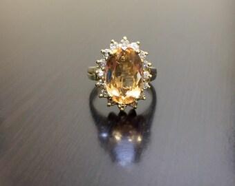 14K Yellow Gold Imperial Topaz Halo Diamond Engagement Ring - Art Deco 14K Gold Imperial Topaz Diamond Wedding Ring - Imperial Topaz Ring