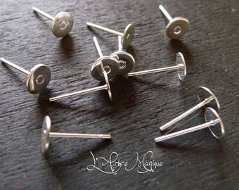 ear studs chip silverplate tray 6 mm * 10 units *.