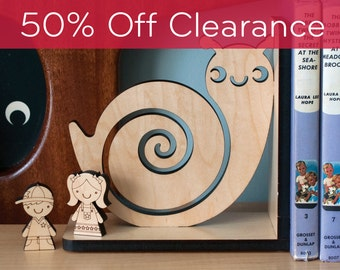 Wood Nursery Animal Bookend: Woodland Snail Baby, Kids Wooden Forest Room Decor