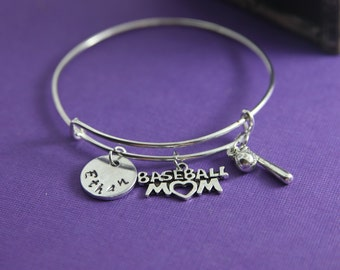 Baseball Mom Handstamped Charm Bracelet Baseball Mom Jewelry