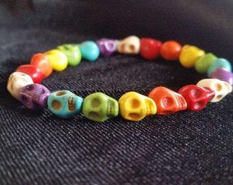 Rainbow Pride Stone Skull Beaded Stretch Bracelet, style S5