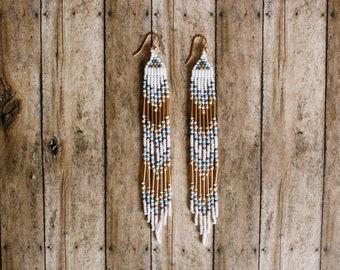 Seed Bead Fringe Earrings, Gold Earrings, Long Dangle Earrings, Native Earrings, Shoulder Duster Earrings, Sterling Silver Earrings
