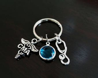 CMA Certified Medical Assistant Graduation Gift Personalized Crystal Birthstone Key Chain Key Ring