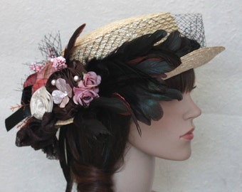 A Weave Church Hat,Flower Summer Hat,Bowler Derby Hat With Flowers And Feathers