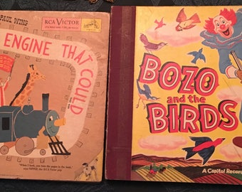 2 Vintage Children's Kids Book 78 Record Sets - Bozo & the Birds Little Engine that Could