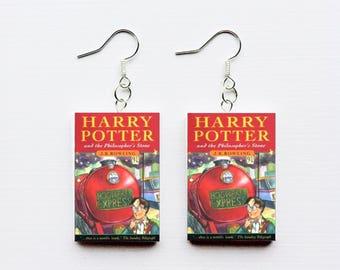Philosopher's stone mini book earrings