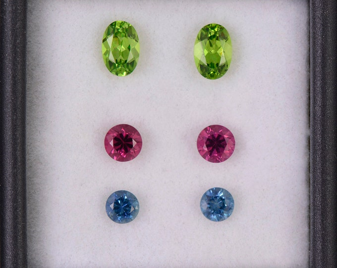 Fantastic Grossular Garnet, Spinel and Blue Sapphire Earring Gemstone Set, 2.40 tcw., Round and Oval Shape.