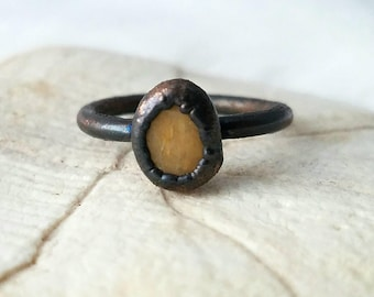 Size 7.75 Copper stacker ring electroformed pebble ring