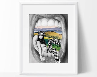 Quirky art print - Just chilling - Surreal poster with retro vibe