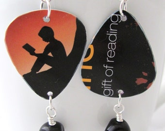 Reader Earrings Reading Earrings Amazon Earrings Book Earrings Guitar Pick Earrings Gift Idea for Readers Gift Idea for Book Lovers