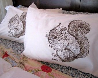 Screen Printed Pillowcases (set of 2 standard) - Pillow Covers - Eco Friendly Bedding - Squirrel - Natural Cotton Pillowcase - Handmade