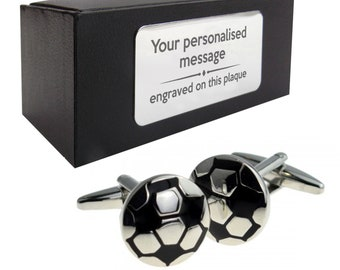 Football soccer footballer themed novelty CUFFLINKS gift, presentation box PERSONALISED ENGRAVED plate - 166