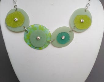 Short necklace: Kilnformed glass wafers and sterling silver Chain-Toggle clasp