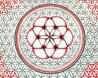 Handmade Flower of Life mandala