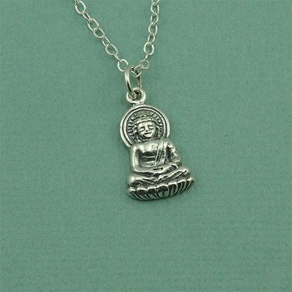 yoga necklace religious vintage jewelry om flower silver amulet chain antique pendant zen dp mandala buddhist lotus