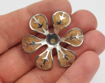 12 Brass And Silver Color Wire Flower Filigree , Findings D127--c054