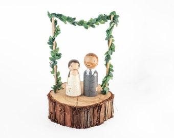 Woodland Cake Topper - rustic wedding cake topper - fairy garden wedding - romantic cake topper - fairy cake topper - floral cake topper