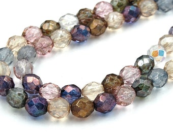 50pc Multi Luster Czech 8mm Fire-polished Faceted Round Beads