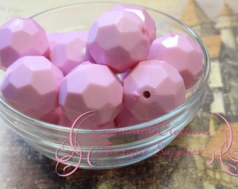 20mm Pink Faceted Hexagon Beads, Chunky Beads, Bubblegum Beads, Gumball Beads, Chunky Jewelry Beads, Acrylic Bead, Gum Ball Bead, Large Bead