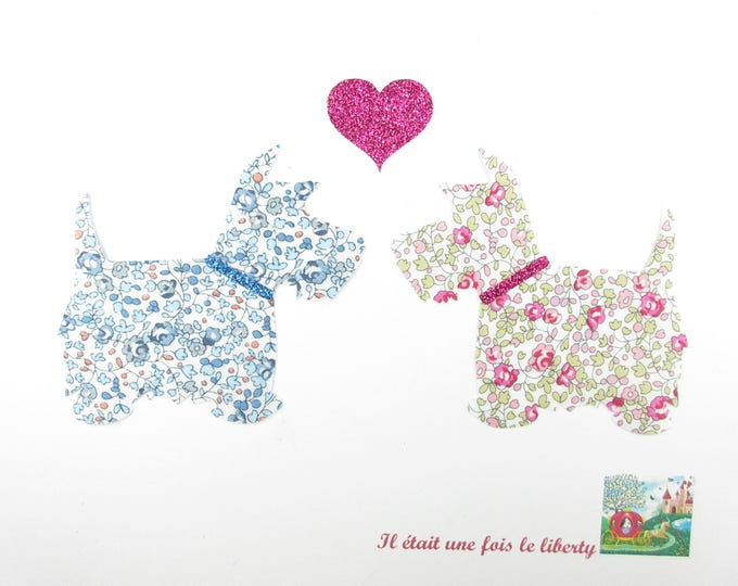 Applied dogs fusing scottish liberty Eloise pink and blue flex glittery liberty fusible iron on patch applique