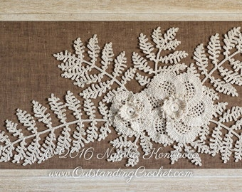 Irish Crochet  Applique PATTERN - Poppy Flower with Fern - Leaf Lace Motif - Fiber Art - Home Wall Decor - PDF