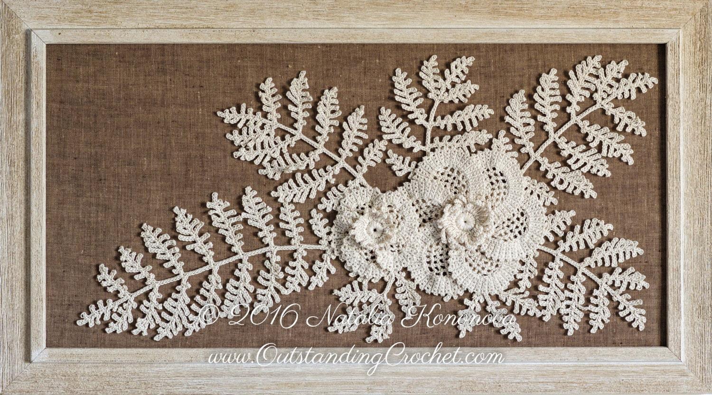 Irish Crochet Applique PATTERN - Poppy Flower with Fern - Leaf Lace ...