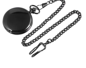 Pocket watch free Engraving gift black