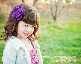 Chloe Crochet Flower Clip, Girls Hair Accessories, Crochet by Allie