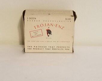 1950s Trojan enz box and contents
