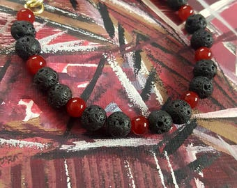 Lava Rock and Red Glass Bracelet