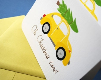 Oh, Christmas tree- single holiday card, VW bug, Volkswagen super beetle holiday card, retro, yellow