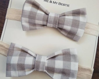 Beige checked boys bow ties, children's bow ties, checked bow ties, wedding bow ties, boys accessories