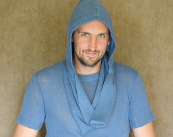 100% Linen knitted scarf ,,Ring'' -hood (handmade) High-quality Natural For men