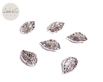 10 charms 16x10mm pechier silver leaf / nature-35