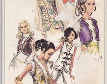 Simplicity 8143 1960's Womens 6 Stylish Hippie Cher Mod Boho Vests Sewing Pattern Size 10 Bust 32 1/2