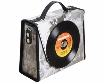 retro vinyl record tote bag handbag - music student gift - nostalgic vintage gifts for women - eco friendly bag - upcycled gifts for her